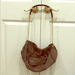 Handbags - Taupe suede bag with gold chain strap